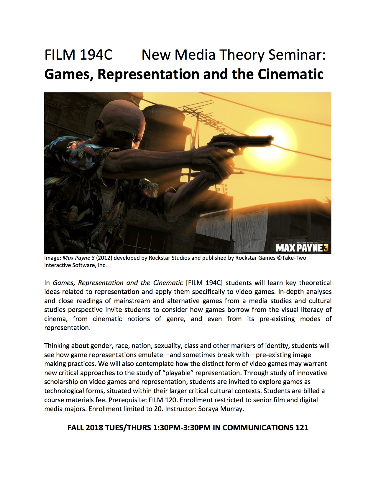 course flyer for FILM 194C New Media Seminar Games Representation and the Cinematic