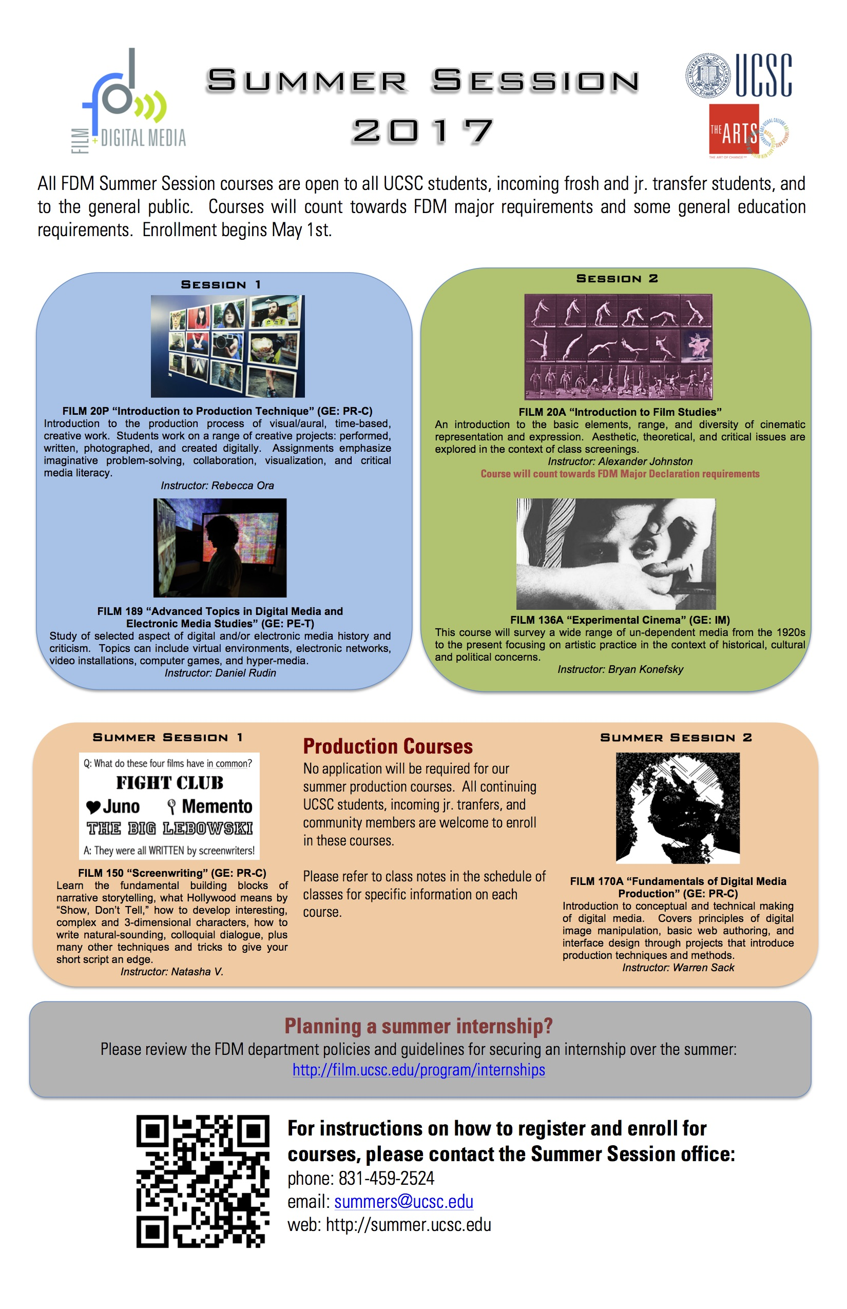 Film and Digital Media Summer Session Flyer