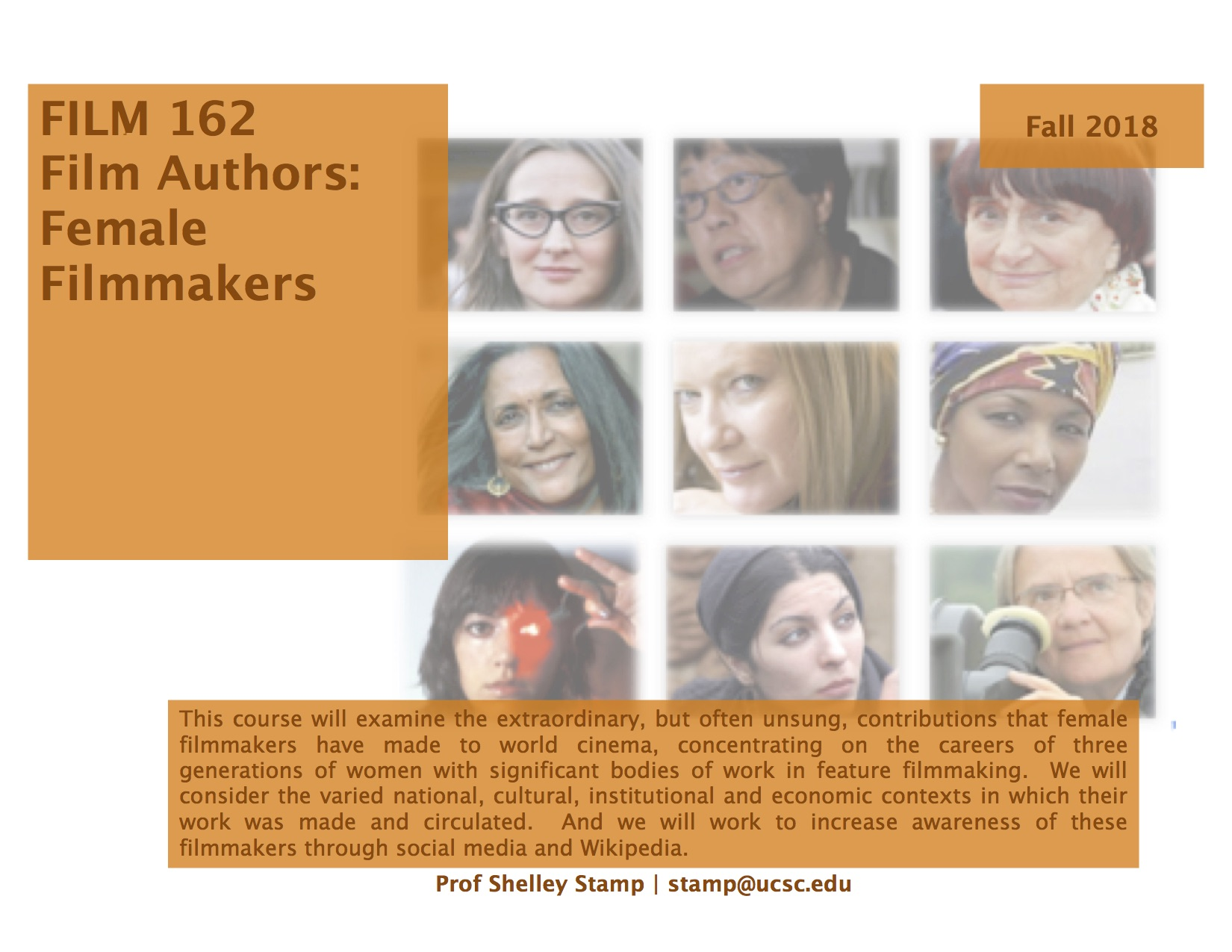 course flyer for FILM 162 Film Authors Female filmmakers