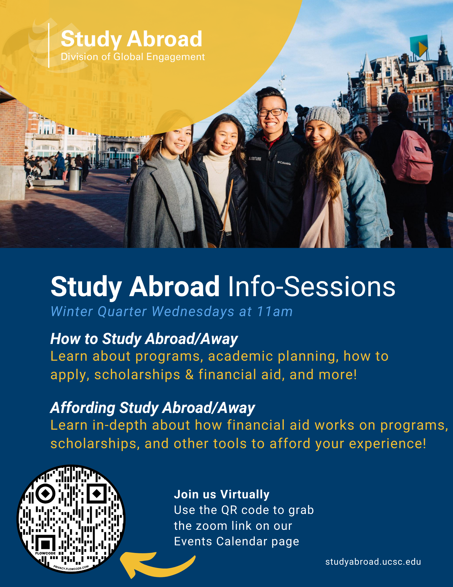 Flyer for Study Abroad Info Sessions