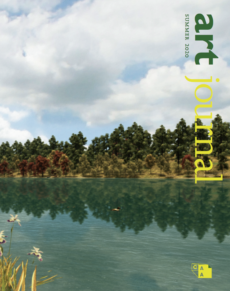 Cover Image for Art Journal Summer 2020 depicts green trees and white clouds with blue sky reflected off a body of water with art journal logo on right side depicted in yellow and greed