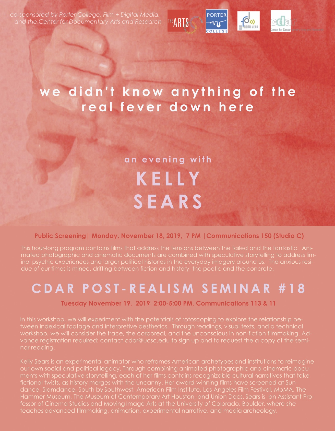 flyer for kelly sears event