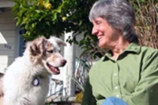 Portrait of Donna Haraway and dog