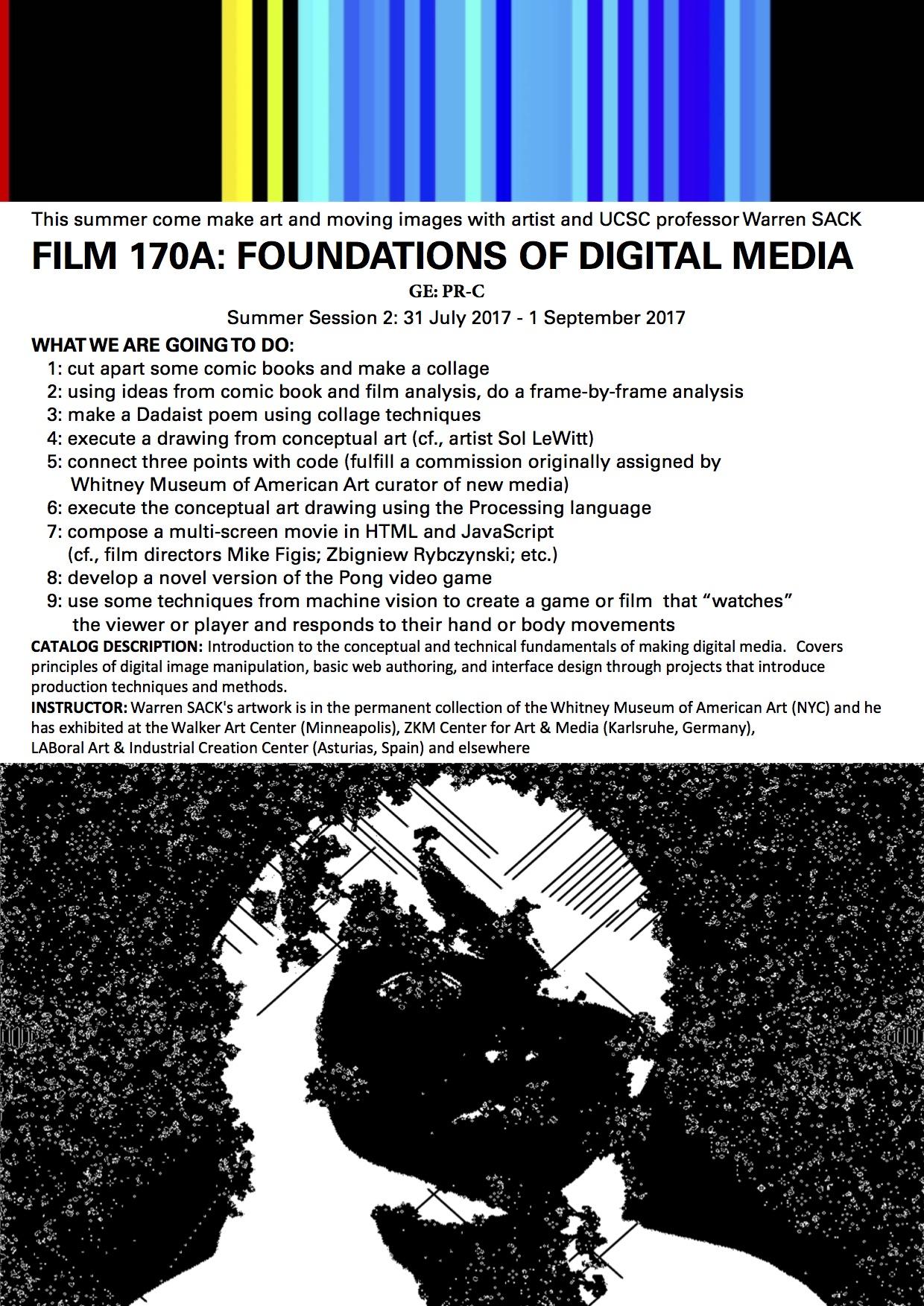 FILM 170A Summer session flyer